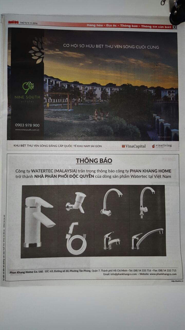 Báo tuổi trẻ Phan Khang Home trở thành nhà phân phối độc quyền WATERTEC tại Việt Nam